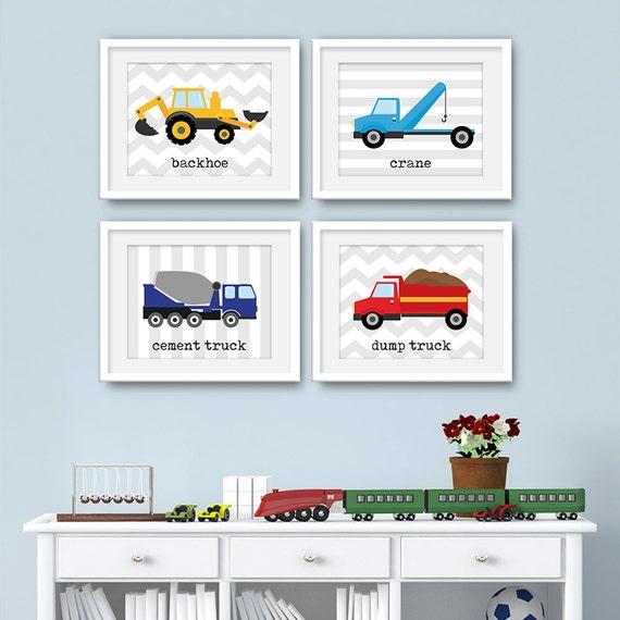 Transporation Art - Transportation Wall Art, Truck Art Set, Trucks Art, Transportation Prints, Set of 4 Prints, Set of 4 Wall Art - KA4668F