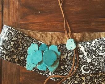 Clara- Turquoise howlite slab belt buckle
