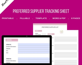 Vendor List / Preferred Supplier Fillable Tracking Sheet for Event & Wedding Planners. Printable Template. MS Word and PDF Versions included