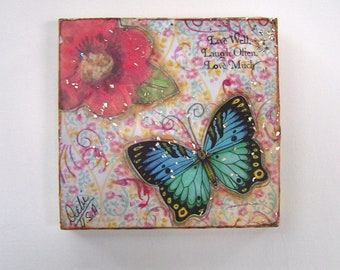 Inspirational Butterfly and Flower Mixed Media Painting