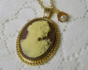 Cameo Necklace - Elizabeth Cameo Pendant - Jane Austen - Cream and Brown - Young Girl - Lady - Woman - Classic Cameo - Chocolate - Gold