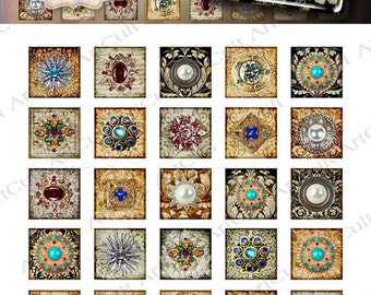 1x1 inch and 7/8x7/8 inch size square images JEWELRY IMAGES Digital Collage Sheets Printable download graphics for glass or resin pendants