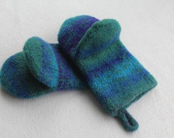 Turquoise Periwinkle Wool Knit Felted Wool Oven Mitt Set, Green Purple Blue Oven Mitt Set, Knit Felt Oven Mitts, Wool Felt Oven Glove Set