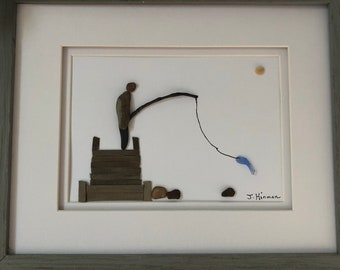 Pebble Art Fisherman