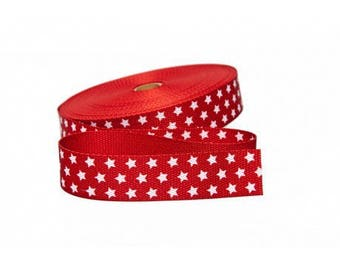 Strap 30mm red stars cotton from 50 cm