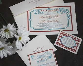 pkg 50 with response cards Americana Boardwalk style Old-Time hearts retro old chevron Nautical LOVE red white blue 20s Wedding Invitations