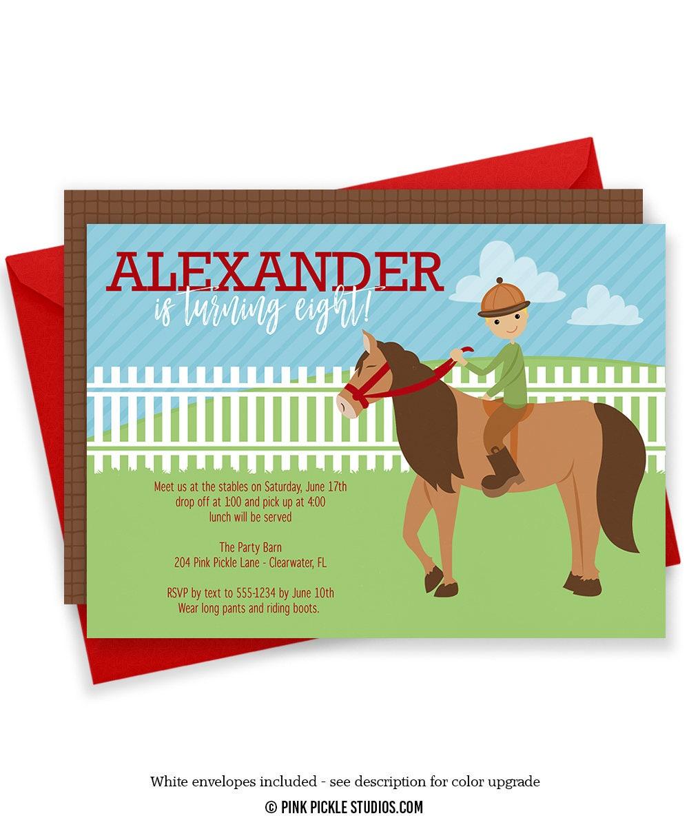 Horse Invitations Horse Birthday Party Cowboy Invitation