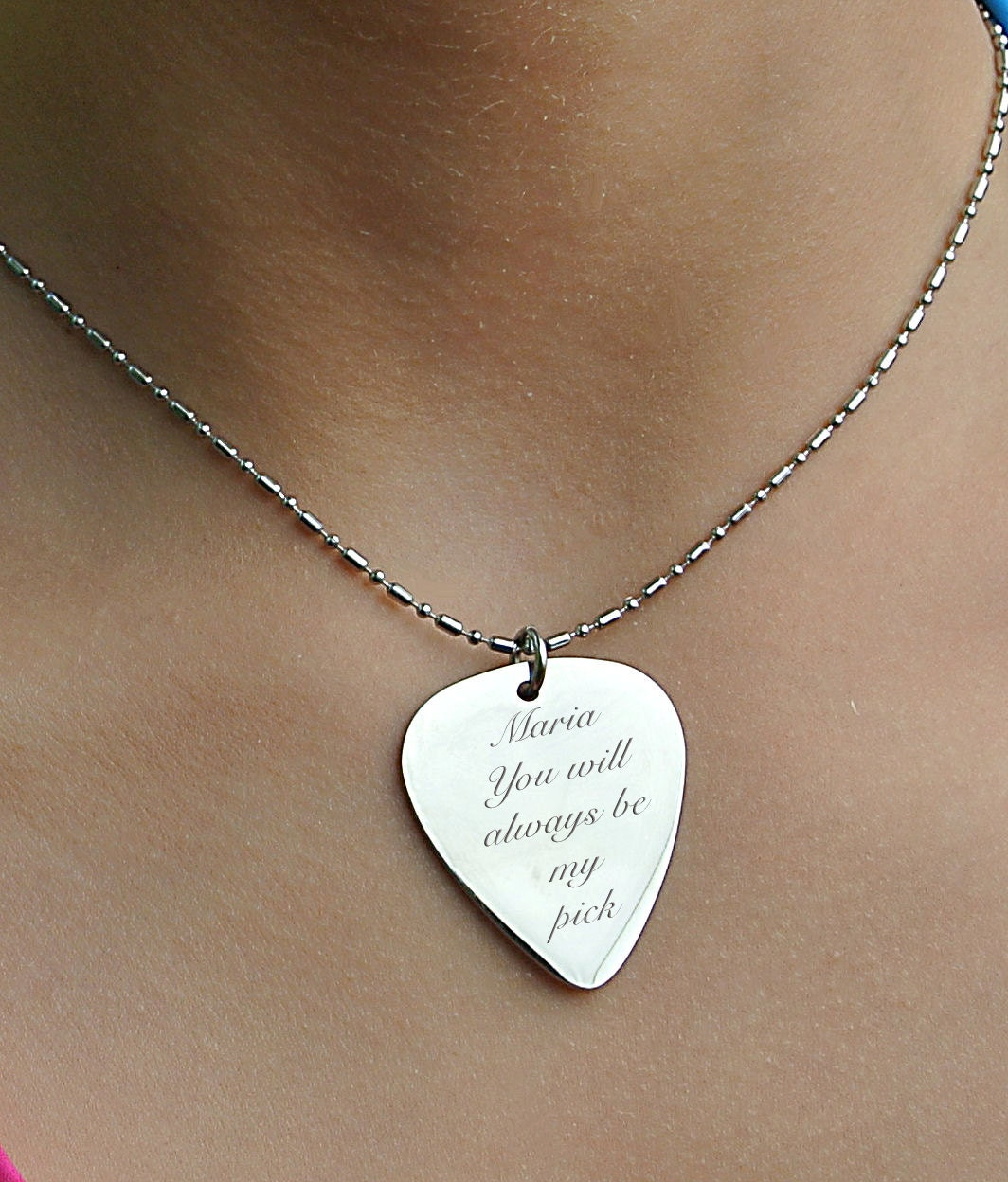 Personalized guitar pick silver guitar pick necklace custom zoom aloadofball Image collections