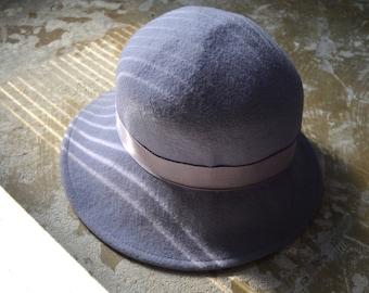 Pale Blue Felt Cloche Hat, 56cm