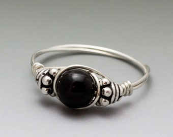 Black Schorl Tourmaline Bali Sterling Silver Wire Wrapped Bead Ring - Made to Order, Ships Fast!