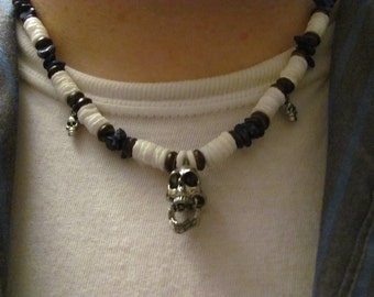 Skulls and Puca Shells Necklace