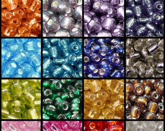 50g -11/0, 6/0, 8/0 Silver Lined Glass Seed Beads - Various Colour & Size