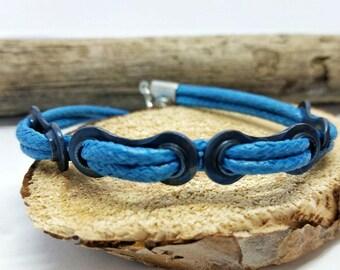 Blue Nylon Biker Bracelet