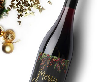 Merry Christmas Wine Label. Christmas Gift. Holiday Wine Label. Happy Holidays Gift. Christmas Party Decorations.
