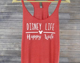 Disney Life Happy Wife Tank for Women Mickey Racerback Shirt: 9 Colors