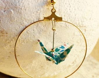 """Earrings hoop earrings gold, blue and white """"vintage"""" origami birds"""