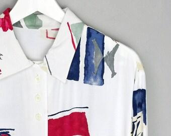 VINTAGE • longsleeve shirt • L • colorful • viskose