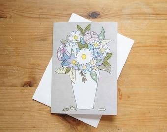 Flowers in Vase Large Greetings Card