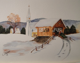 Christmas In The Country, Giclee print from my original watercolor, Old fashioned Christmas Village Scene, Covered bridge