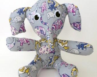 Purple and Mustard Elephants on Grey stuffed animal elephant toy