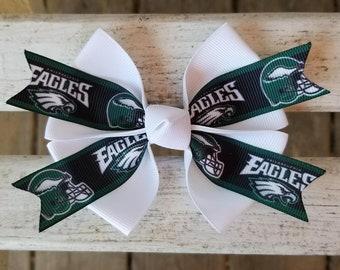 Philadelphia Eagles NFL Hair Bow  (4 inch)