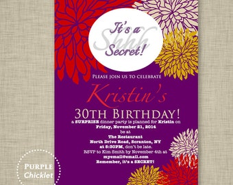 Surprise Party Invitation Fall 30th Birthday Invitation Purple Yellow Red Dinner Party Elegant Adult Party Invite Printable File Invite 140