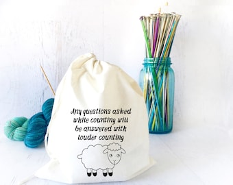 Funny Drawstring Project Bag- Knitting Project Bag- Sock Knitting Bag-  On the Go Bag- Project Organizer Bag- Travel Bag- Bag for Knitters
