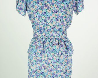Vintage 1980s Floral Maggy London Petites Jeannene Booher Dress Size 4/xs
