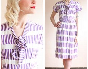 1940s Dress // Violaceous Stripe Rayon Dress // vintage 40s dress