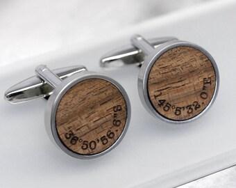 Coordinate Wooden Cufflinks, 5th Anniversary Gift, Gift for Him, Location Cufflinks, Coordinate Cuff Links, Walnut Coordinate Cufflinks