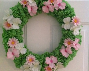 Spring Flowers Yarn Wreath
