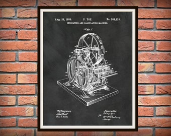 Patent 1888 Calculator - Art Print - Poster - Wall Art - Technology Lab Statistics - Clockwork Calculating Machine - Adding Machine Art