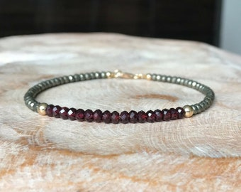 Garnet Bracelet, Garnet Bracelet Gold, Gold Garnet Bracelet, Red Garnet Bracelet, Garnet Jewelry, January Birthstone, Gift for Her