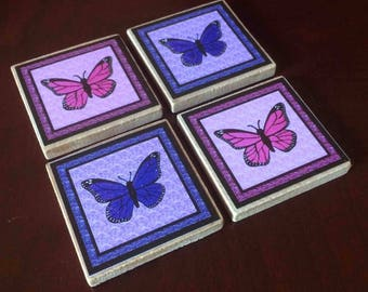 Pink and Purple Monach Butterfly Magnets (set of 4)