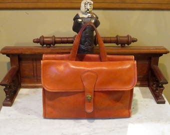 Dads Grads Sale Coach Bonnie Cashin Era Double Sided Briefcase Tote In Burnt Orange Leather - Made In New York City- VGC- Rare Bag