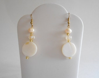 White Earrings Shell Beads Earrings Shell Earrings White Shell Earrings Fresh Water Pearls Pierced Earrings Dangle Earrings Drop Earrings