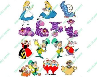 Alice in Wonderland File Set - SVG file, EPS file, PNG file - Instant Download - Cricut Explorer - Silhouette Cameo