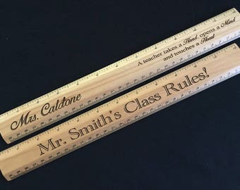 Personalized Teacher Gifts/Personalized Standard Solid Wood Ruler/Teacher Christmas/Teacher End of Year