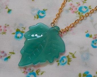 Teal Leaf Glass Translucent Pendant Necklace
