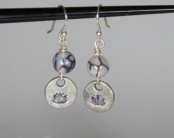 Lotus Stamped Earring with Dragon's Vein Beads