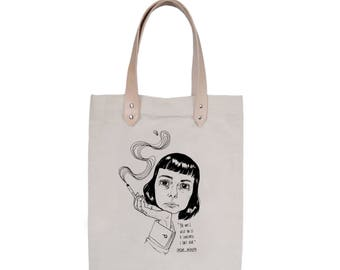 Tote Bag With leather straps - Screenprint Over Cotton Canvas Tote Bag Carson McCullers