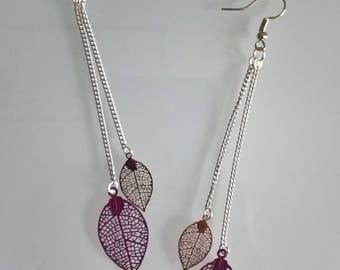 Great earrings thin leaves purple/gold