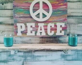 Peace, Peace Sign, Vibrant Colors, Retro Vibes, Pallet Wood