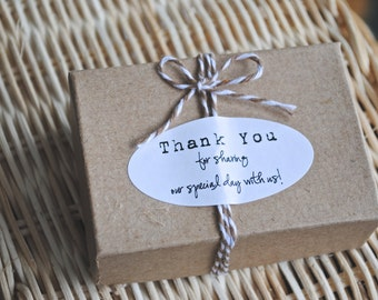"25 Wedding ""Thank you for sharing our special day with us"" KRAFT or white Labels - 2"" x 1"" - Oval seals/Stickers/labels"