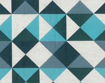 Blue geometric pattern fabric