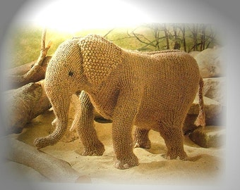 AFRICAN ELEPHANT toy knitting pattern by Georgina Manvell