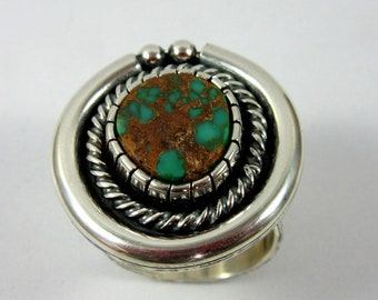 Pilot Mountain Turquoise and Sterling Silver Ring, Size 7.  Southwestern jewelry, modern jewelry, boho ring