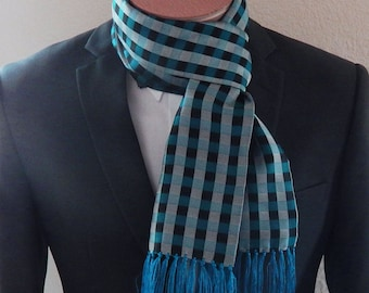 Mens Scarf Teal Blue Black And Silver Mens Fashion Scarf