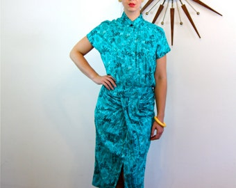 Vintage 80s Dress, Atomic Print dress, Turquoise Teal Green, Novelty Print, High Nehru Collar, Short Sleeve, Shoulder Pads, 1980s New Wave