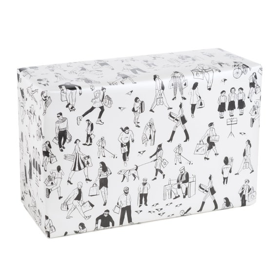 CHRISTMAS SHOPPING. Christmas wrapping paper. Holiday Shopping. Black and white pattern. Gift for him. For her.